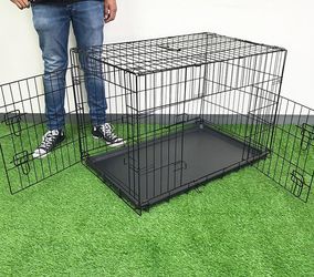 """New in box $45 Double Door 36"""" Dog Crate Kennel Metal Folding Pet Cage Plastic Tray Divider, 36x23x25 Inches for Sale in Pico Rivera,  CA"""