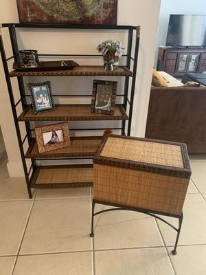 Shelf with 4 tiers, small matching trunk, and picture frame for Sale in Homestead, FL