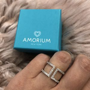 Amorium Sterling Silver Ires Ring in Silver with White CZ Crystals for Sale in The Bronx, NY