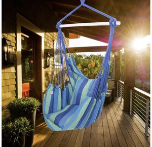ONCLOUD Hanging Rope Hammock Chair Swing Seat for Yard, Bedroom, Patio, Porch, Indoor/Outdoor - 2 Seat Cushions Included (Blue) for Sale in Inglewood, CA