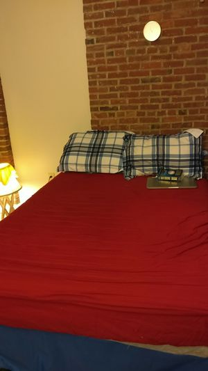 Used Full sized mattress + bed for Sale in Lowell, MA