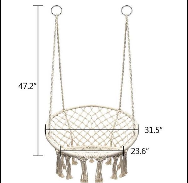 Hanging Cotton Rope Macrame Hammock Chair Swing Outdoor Home Garden 300lbs