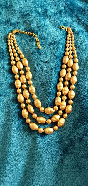 Pearl necklace more soft gold color than shown 16inch with 3 inch extension simulated glass pearls 8 mms. Was $299 for Sale in Raleigh, NC