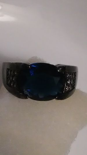 Size 11 18k Black Gold/f & blue sapphire for Sale in Lombard, IL