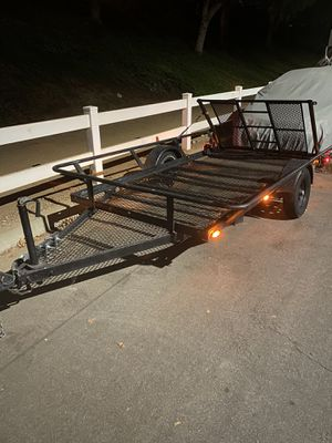 Utility / motorcycle atv rzr trailer 15' x 6.5' single axle with ramp gate and lights for Sale in Yorba Linda, CA