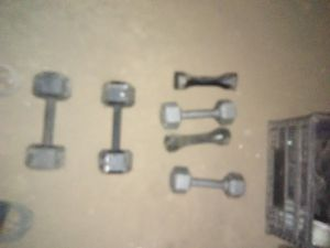 Olympic style Dumbells ,plus Curling Bar with weights for Sale in Phoenix, AZ