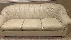 Off white leather couch in perfect condition for Sale in Silver Spring, MD