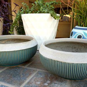 2 Teal Blue Ceramic Planters for Sale in Peoria, AZ