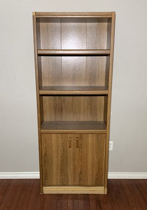 Brown Pressed Wood Bookcase w/ Lower Storage Cabinet & 3 Shelves for Sale in West Linn, OR