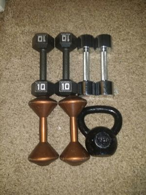 Dumbbells pair of 5s, 8s, and 10s. 15lb kettle bell. for Sale in Deerfield Beach, FL