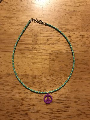Seed bead choker with peace charm for Sale in Camp Pendleton North, CA