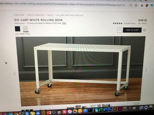 CB2 go cart desk white on casters for Sale in San Diego, CA