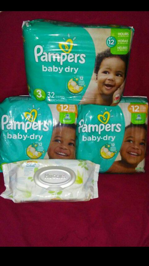 3 packs Pampers diapers sz 3 plus a pack of wipes