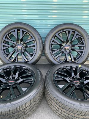 "22"" OEM Black GM Wheels Rims Tires GMC Escalade Yukon Tahoe Silverado for Sale in Fontana, CA"
