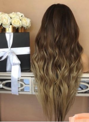 Brown hair ombré wig. Style as desired, straighten , curl and such high quality human hair with net. for Sale in Palos Verdes Estates, CA