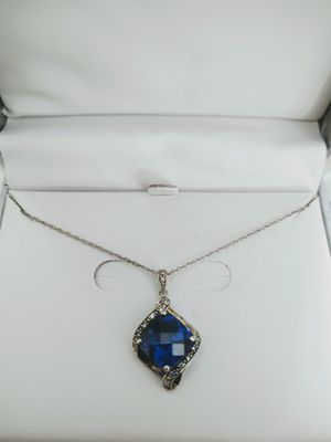 New Stirling Silver Necklace With Lab Created Blue Sapphire and Diamond Chips for Sale in Lake Mary, FL