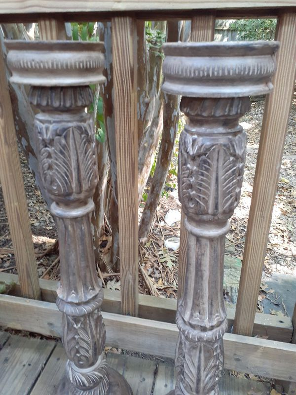 Tall wood candle holders