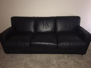 Black leather fold out couch for Sale in Washington, DC