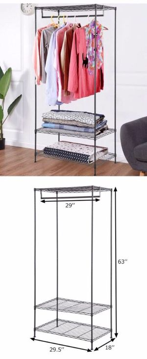 New in box 61 inches tall wardrobe clothes shoes closet organizer hanging stand rack storage organizer for Sale in Baldwin Park, CA