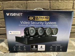 *BRAND NEW - Wisenet 8Ch Security System, 4 Weather Resistant Bullet Cameras (Retail $300+) for Sale in Dunwoody, GA