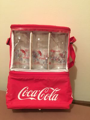 RARE Antique Coca-Cola Lunch Bag with six (6) Coca-Cola Drinking Glass Set for Sale in Cleveland, OH