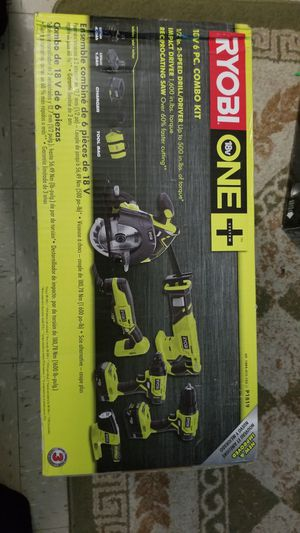 Ryobi 6pcs combo drill impact driver and reciprocating saw for Sale in The Bronx, NY