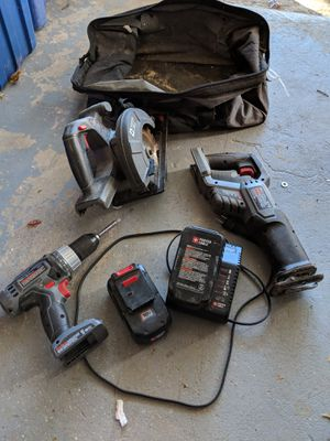Porter Cable triple power tool set + batteries and charger for Sale in Woodbridge, VA