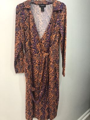 Orange and purple wrap dress for Sale in Houston, TX