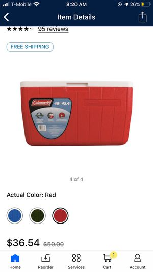 Coleman 48-Quart Performance 3-Day Heavy-Duty Cooler, Red for Sale in Sayreville, NJ