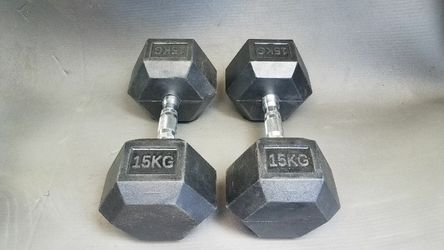 66lbs total Rubber hex dumbbells 2x15kg for Sale in Montebello,  CA