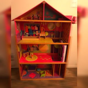 wooden doll house+ barbie closet for Sale in Malvern, PA