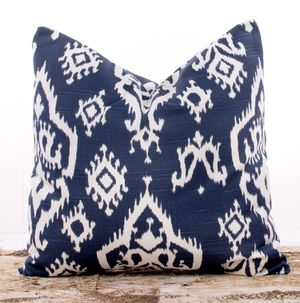 "Set of two 22"" x 22"" navy Ikat pillow covers with pillow inserts for Sale in Maryland Heights, MO"