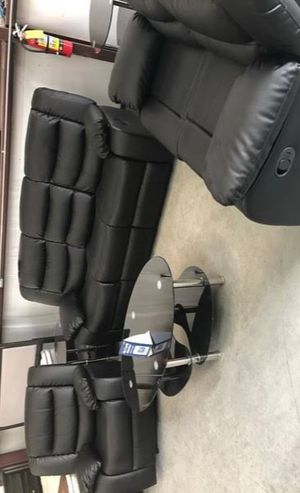🍻BRAND NEW ASTROS BLACK 3-PIECE RECLINING LIVING ROOM SET/ Couches☆ Sofa & Loveseat & Chair 💥39 DOWN PAYMENT🍻 for Sale in Houston, TX
