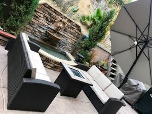 New outdoor wicker patio lounge furniture sofa fire pit set for Sale in Chula Vista, CA