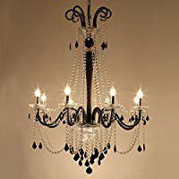 Black & White Crystal Chandelier 8 Lights Wrought Iron for Sale in Ontario, CA