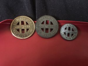 1923 & 1924 Honolulu Transit Coin (Full/half fare) for one ride home (3 total) for Sale in Honolulu, HI
