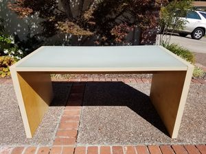 Desk - Frosted Glass Top w/ Natural Wood Color for Sale in Martinez, CA