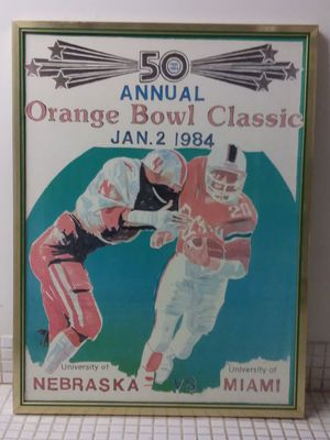 """Vintage Framed 50th Annual Orange Bowl Classic University of Miami Football Game Poster 22""""x29"""" (50a Anual Orange Bowl Classic Univ. of Miami Poster) for Sale in Miami Shores, FL"""