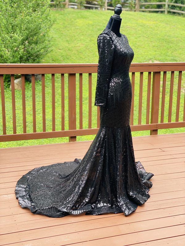 Mermaid sequin rhinestones dress long train open back backless turtleneck prom wedding elegant long sleeve