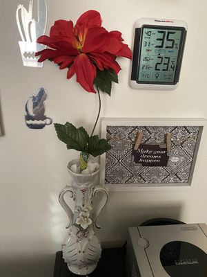 White Ceramic Flower Vase with Red Artificial Flower for Sale in Ithaca, NY