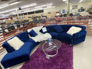 Brand new blue fabric sectional sofa $39 down for Sale in Dallas, TX
