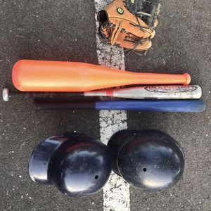 Youth baseball gear, 2 helmets, glove, 3 different bats for Sale in East Windsor, NJ