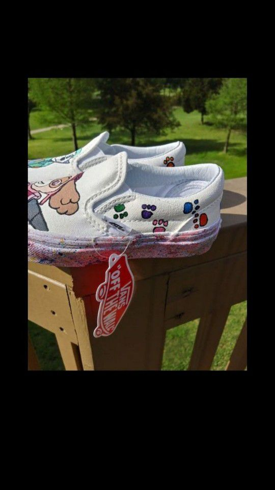 Paw Patrol Vans Hand Painted Customized Kids Size 10.5Y Sky and Everest