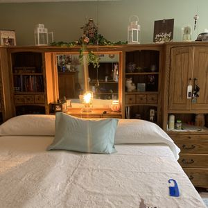 King Size Headboard Wall Unit With Drawers Cabinet Shelves Storage All Real Wood for Sale in Nashville, TN