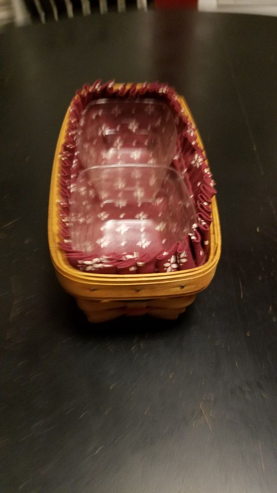 1995 Longaberger Basket with two clear containers/ dividers