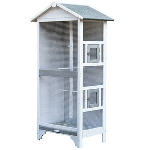 PawHut Wooden Outdoor Aviary Bird Cage Large Plày House w/ removable Bottom tray for Sale in Las Vegas, NV