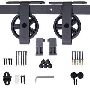 JUBEST 6.6ft Sliding Barn Door Hardware Hanger Track Kit, Spoke Wheel Hanger Roller, 1 x 6.6 Foot Rail Railing for Sale in Ontario, CA