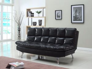 Black leather futon for Sale in Dearborn, MI