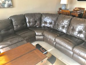 Brown real leather sectional (high quality not synthetic)/ couch / sofa bought from el dorado for over 2 grand few years ago. Pay a fraction of the p for Sale in Ives Estates, FL