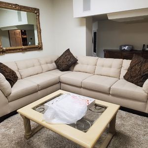 Tan Cream Sectional Couch for Sale in West Chicago, IL